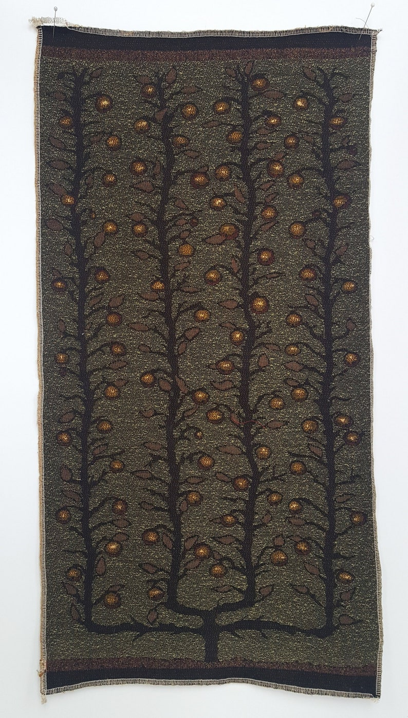 by Laura Foster Nicholson Espalier Apple Trees in olive and black Free Shipping. Jacquard woven panel