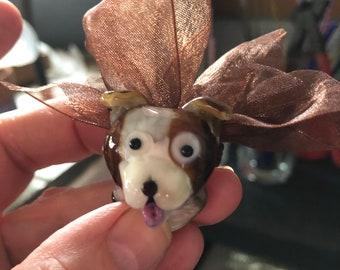 little brown and white dog glass bead