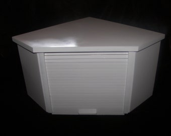 White Lacquer Corner Bread Box with Roll Up Door