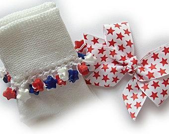 Kathy's Beaded Socks - Red Star Socks and Hairbow, girls socks, beaded socks, red and blue socks, star socks, patriotic socks, hair bow sock