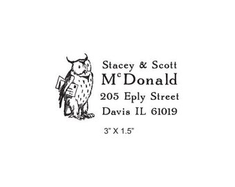 2 x 2 inches Return Address Wise Owl Rubber Stamp