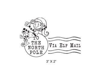 Elf Mail North Pole Postmark Christmas Rubber Stamp 453