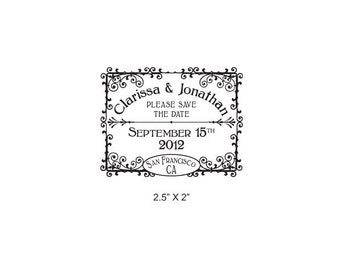 Soda Pop Vintage Personalized Wedding Save the Date Rubber Stamp AD166