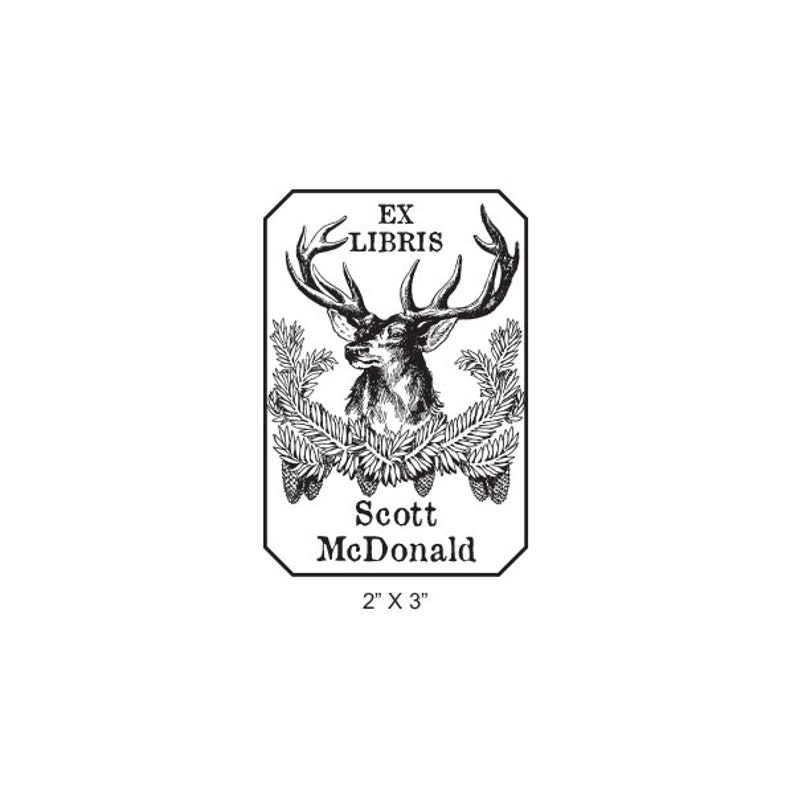 Deer and Pine Cones Personalized Ex Libris Library Stamp Rubber Stamp M15