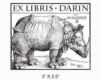 Personalized Rhinoceros Bookplate Ex Libris Rubber Stamp F15