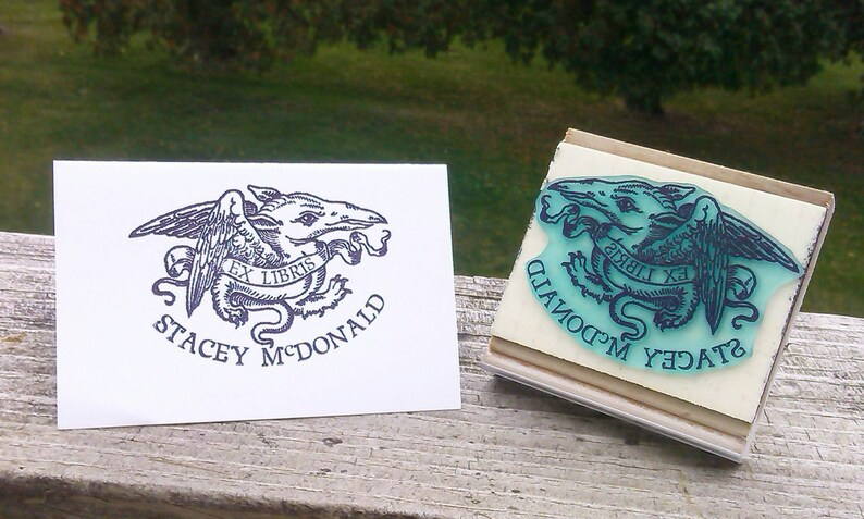 Baby Dragon with Banner Personalized Ex Libris Bookplate Rubber Stamp N19
