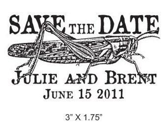 Grasshopper Antique Custom Save the Date Rubber Stamp AD121