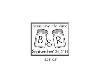 Housewarming sale Custom Mason Jars Save the Date Rubber Stamp AD152