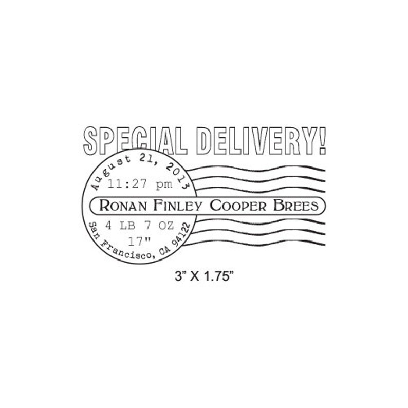 Special Delivery Birth Announcement Postmark Custom Rubber Stamp AD296