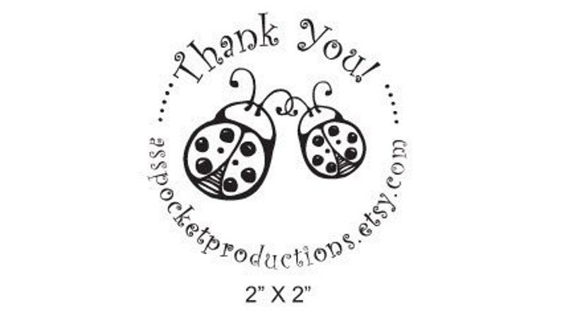 Custom Rubber Stamp Mom and Baby Ladybug Thank You B27