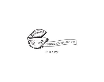 Fortune Cookie Custom Save the Date Rubber Stamp AD343