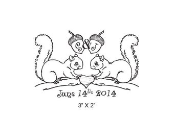 Squirrels Custom Wedding Save the Date Rubber Stamp AD290