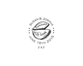 Fortune Cookie Custom Save the Date Rubber Stamp AD342