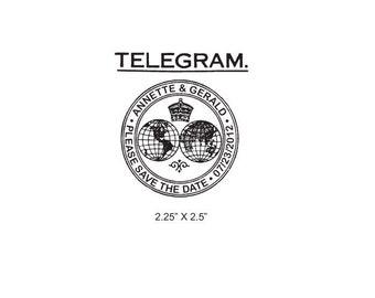 Telegram Wedding Custom Save the Date Rubber Stamp AD156