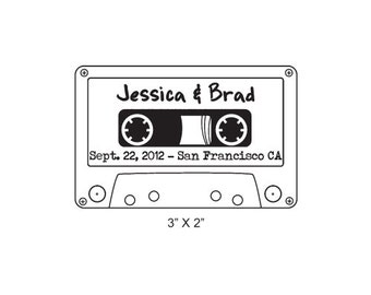 Cassette Tape Retro Personalized Wedding Save the Date Rubber Stamp AD235