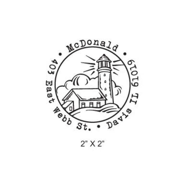 Light House Custom Return Address Rubber Stamp AD187