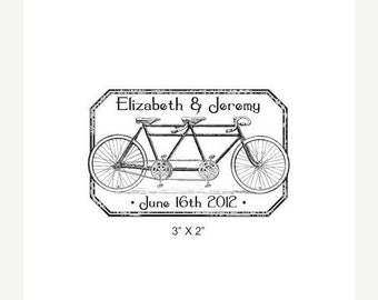 Housewarming sale Tandem Bicycle Distressed Antique Frame Custom Wedding Save the Date Rubber Stamp AD224