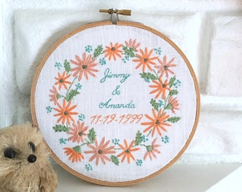 Wedding Gift Hand Embroidered Anniversary Gift Under 50 Embroidery Hoop Art Hand Stitched Personalized Wall Art Home Decor You Pick Colors