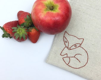 Snack Bag Hand Embroidered Fox Lined Bag Reusable Sandwich Kid Gift Under 15 Lunch Storage Eco Friendly Food Safe No Waste 8x8 inches