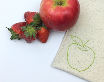 Snack Bag Hand Embroidered Apple Lined Bag Reusable Sandwich Teacher Gift Under 15 Lunch Storage Eco Friendly Food Safe No Waste 8x8 inches