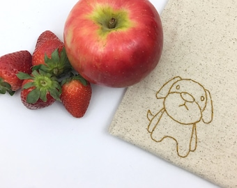 Hand Embroidered Dog Snack Bag Reusable Sandwich Kid Gift Under 15 Lined Bag Lunch Storage Eco Friendly Food Safe No Waste 8x8 inches Puppy