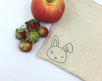 Reusable Sandwich Bag Snack Bag Hand Embroidered Bunny Rabbit Lined Bag Gift Under 15 Lunch Storage Eco Friendly Food Safe No Waste 8x8 inch