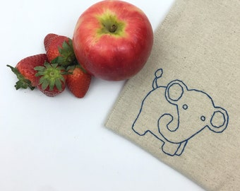 Reusable Sandwich Bag Kid Gift Under 15 Hand Embroidered Elephant Snack Lined Bag Lunch Storage Eco Friendly Food Safe No Waste 8x8 inches