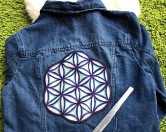 DENIM JEAN JACKET with Sewn-On Sacred Geometry Patch by Leah Wake. Juniors Size L Upcycled Jean Jacket Sacred Patch Sewn Already Attached