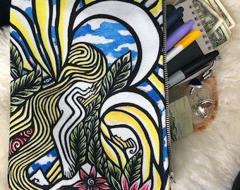 ZIPPERED POUCH with Original Artwork by Leah Wake Angels of Light Hand Bag Art Wallet Makeup Flat Pencil Case Coin School Purse Organizer