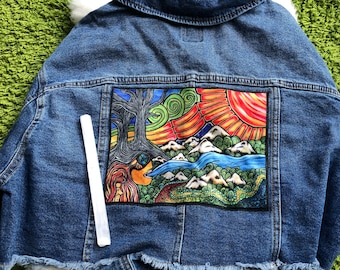 DENIM JEAN JACKET with Sewn-On Nature Art Patch by Leah Wake. Womens Size X L . New Jean Jacket Velveteen Patch Sewn-On Already Attached