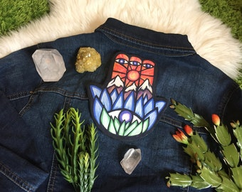 VELVETEEN PATCH Sew On HAMSA Art by Leah Wake Printed on Luxury Velveteen Sacred Protective Amulet Lotus Flower Hand of Miriam Sew On Patch