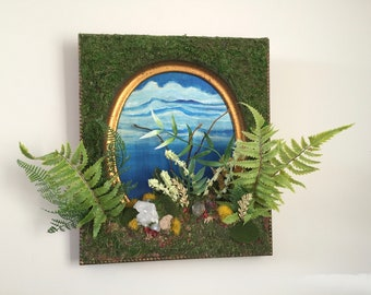 """PRESERVED MOSS PAINTING """"Sacred Garden"""" by Leah Wake Sacred Landscape Earth Real Quartz Crystal Faux Plant Sky Painting Moss Fern Wall Art"""