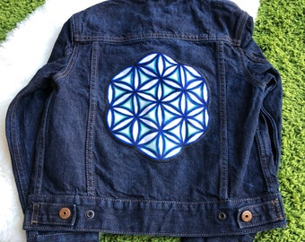 DENIM JEAN JACKET with Sewn-On Sacred Geometry Patch by Leah Wake. Kids Size Medium Upcycled Jean Jacket Sacred Patch Sewn Already Attached