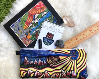 ART GIFT SET of 6 Items: 1 Zippered Pouch, 1 Sew on Patch, 1 Art Print, 3 Real Crystals. Crystal and Art Gift Set by Leah Wake