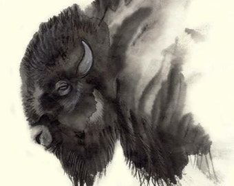 Plains Ghost Bison Art Painting Print - Sumi Ink totem buffalo art wall art picture native american gift wall art watercolor