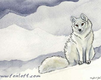 Ice Flower - Arctic Fox Painting Print - Watercolor totem foxes wall art picture winter snow white