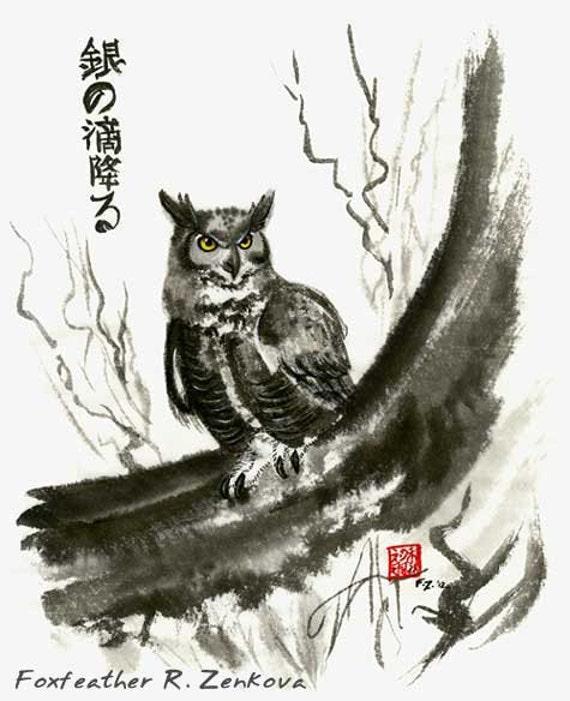 silver drops falling owl sumi painting print wall art great etsy