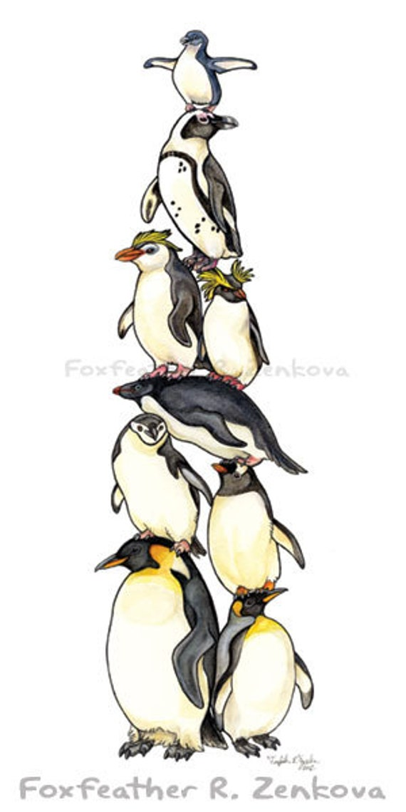 Penguin Stack Painting Print Wall Art Bird Stack Etsy