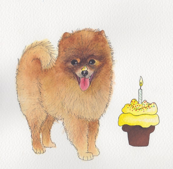Pomeranian Greeting Card With Birthday Cake Design No 38 Etsy