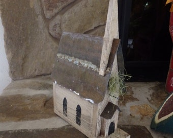 Handcrafted Wooden Cedar Church Bird House with Tin Roof/Seasonal Home Decor/Handpainted~Free US Shipping