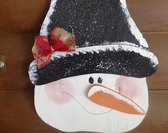 Handcrafted Wooden  Snowman Door/Wall Hanger/Winter/Seasonal Home Decor/Handpainted