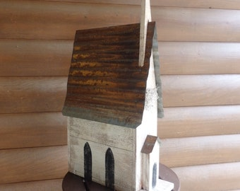 LARGE Handcrafted Wooden Cedar Church Bird House with Tin Roof/Seasonal Home Decor/Handpainted