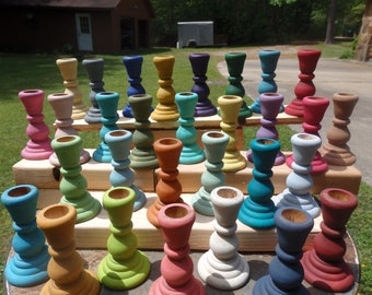 Painted Wood Taper Candle Holder~Candle Stick Holders~Assorted Color Choices