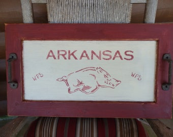 Handpainted Arkansas Razorback Wood Tray~Cast Iron Handles~Re-Created Cabinet Door Front~Home/TableDecor~Wooden~Hogs~Country