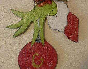 Handpainted Wood Grinch Door Hanger~Home Decor~Wooden~Primitive~Country