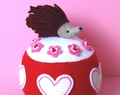 Hedgehog Pincushion-Hedgie with Hearts