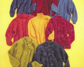 Knitting Pattern  - PDF pattern download - Mohair Cardigans, Pullovers - BEGINNER - Different yarns and tensions - Adult and Children
