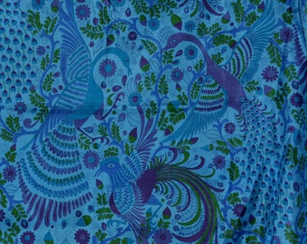 Exotic peacock fabric Thai silk yardage, peacock birds