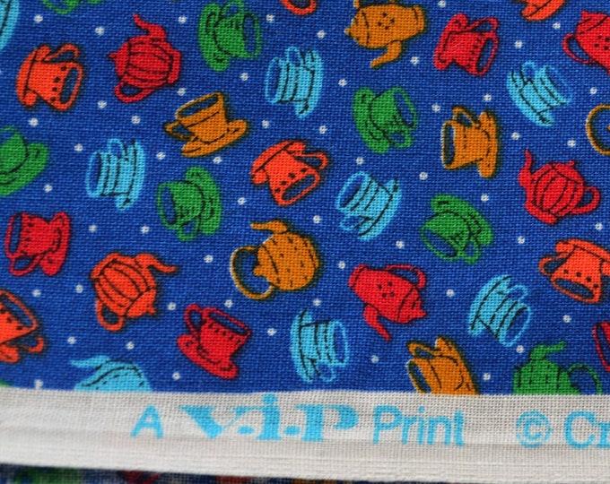 Multi color Miniature fabric for doll clothes small scale coffee pots tea cups VIP Cranston fabric