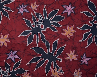 Vintage Indonesian batik fabric by the yard, Abstract Batik fabric, dark red with blue and lavender stylized leaves